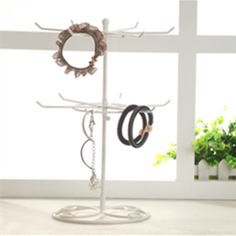 Portable Detachable Jewelry Stand Iron Body Round Turntable Holder Earring Necklace Bracelet Double Tier Rotatable Stand Rack VL