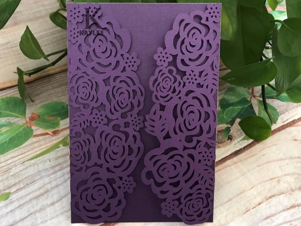 Purple Rose Wedding Invitations: 50pcs Rose Purple Wedding Invitations,Laser Cut Invitation