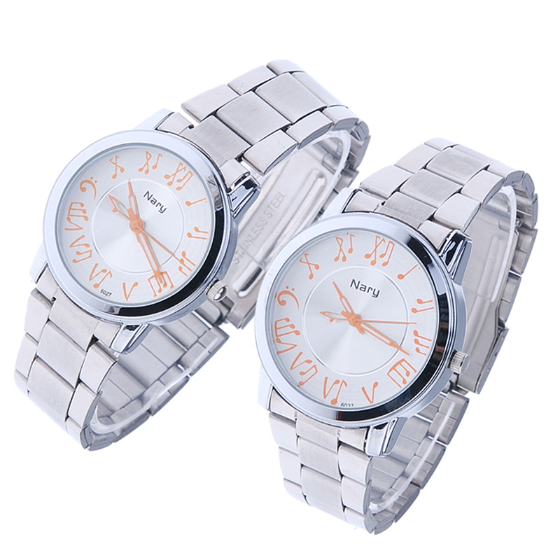 NARY 18New luxury Brand fashion and casual Music note Notation Watch Stainless Steel Wristwatch For Men