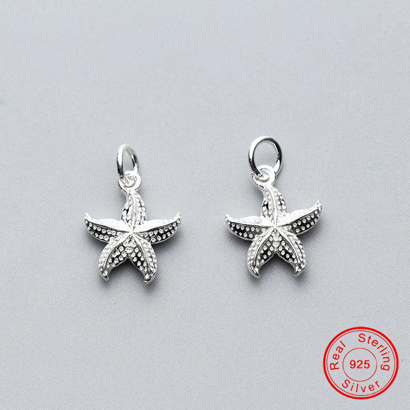 UQBing 100% Sterling Silver 925 Personality 17*13*3.5m Starfish Pendant Beads Charms For Women DIY Bracelet Jewelry Findings