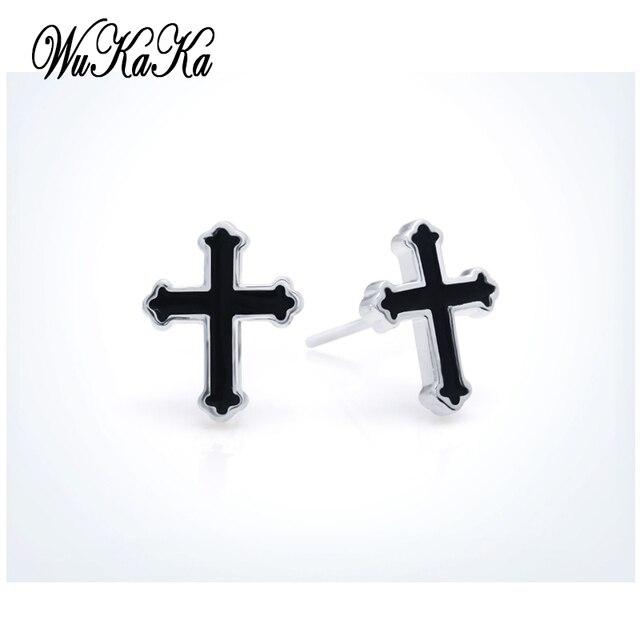 Fashion Black Cross Men Silver Plated Boys Earring Stud Earrings For Boy Woman Gift