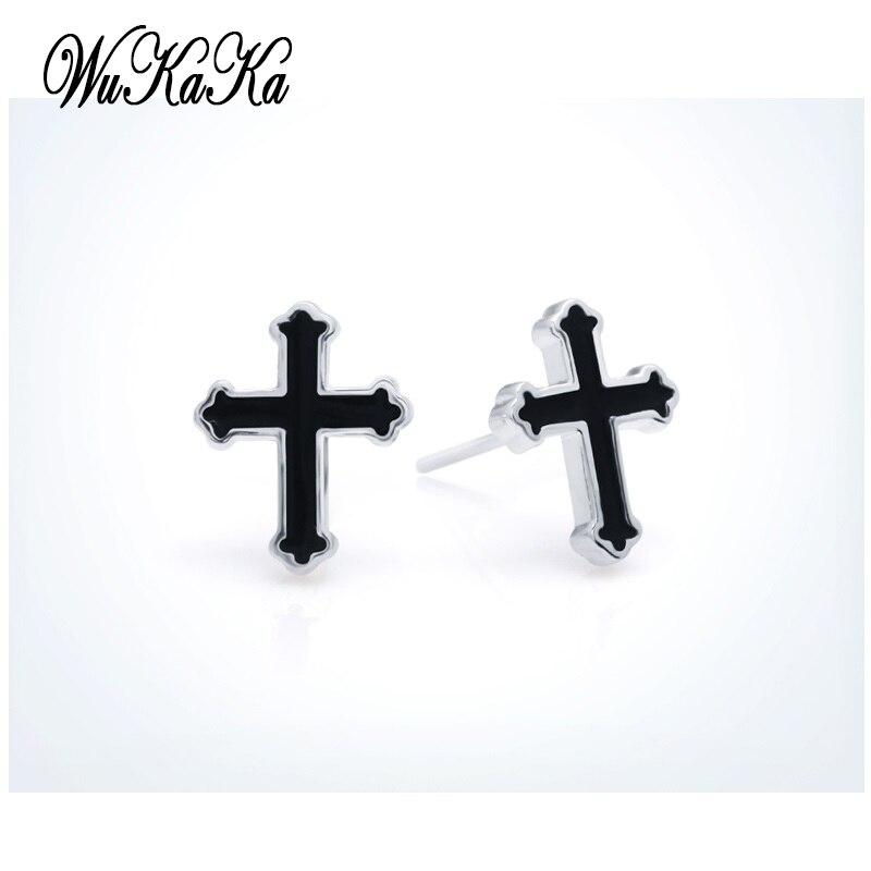 Fashion Black Cross Men Silver plated Boys Cross Earring Stud Earrings For Boy Woman Girl Gift