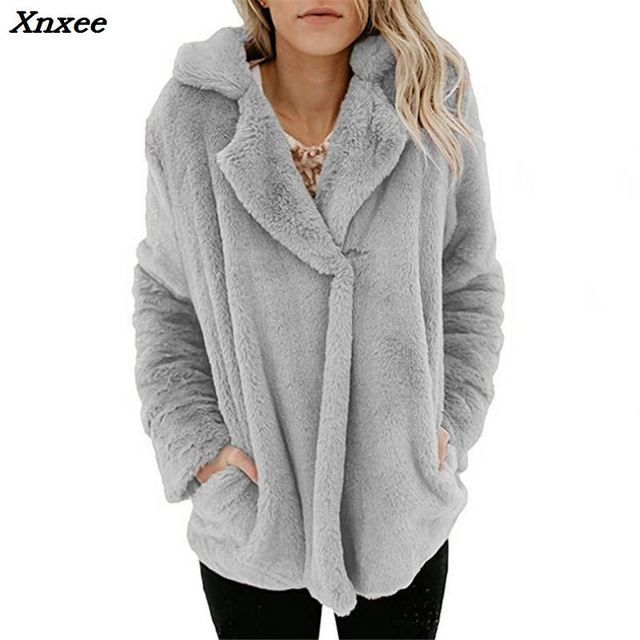 High Quality Luxury Suit Neck Pocket Faux Fur Coat For Women Winter Warm Fashion Leopard Artificial Fur Women's Coats Jacket