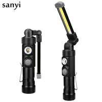 Linterna COB recargable por USB, luz de trabajo portátil de 5 modos, linterna LED magnética para exteriores, lámpara con gancho para colgar