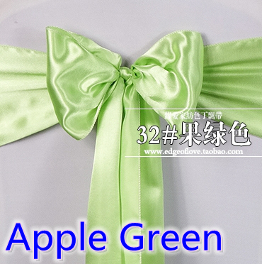Apple green colour high quality satin sash chair bow for chair covers sash spandex party ...