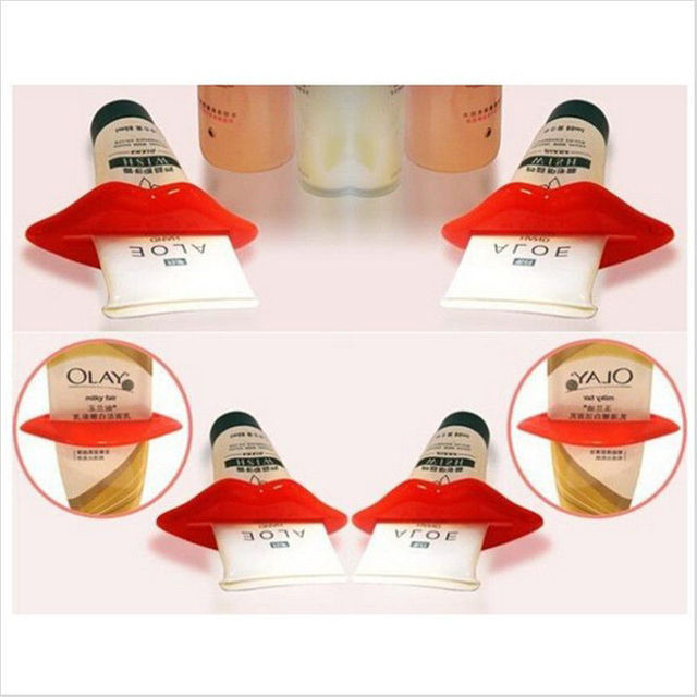 2Pcs Top Sale Sexy Hot Lip Kiss Bathroom Tube Dispenser Toothpaste Cream Squeezer Home Tube Rolling Holder Squeezer