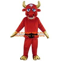 Pole Star Taureau Costumes Avec Or Chaussures Gants Et Corne/Date Rouge Bovins Mascotte Costumes