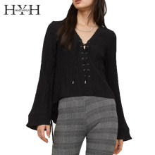 HYH HAOYIHUI Lace-up Shirt Pleated Muscle Texture Natural Leisure Style Wind Strap Cuffs V-neck Drawstring Loose Tops