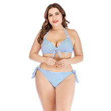 Plus Size striped 2019 Bikini Bow Knotted Swimsuit Large Halter Swimwear Strappy Triangle