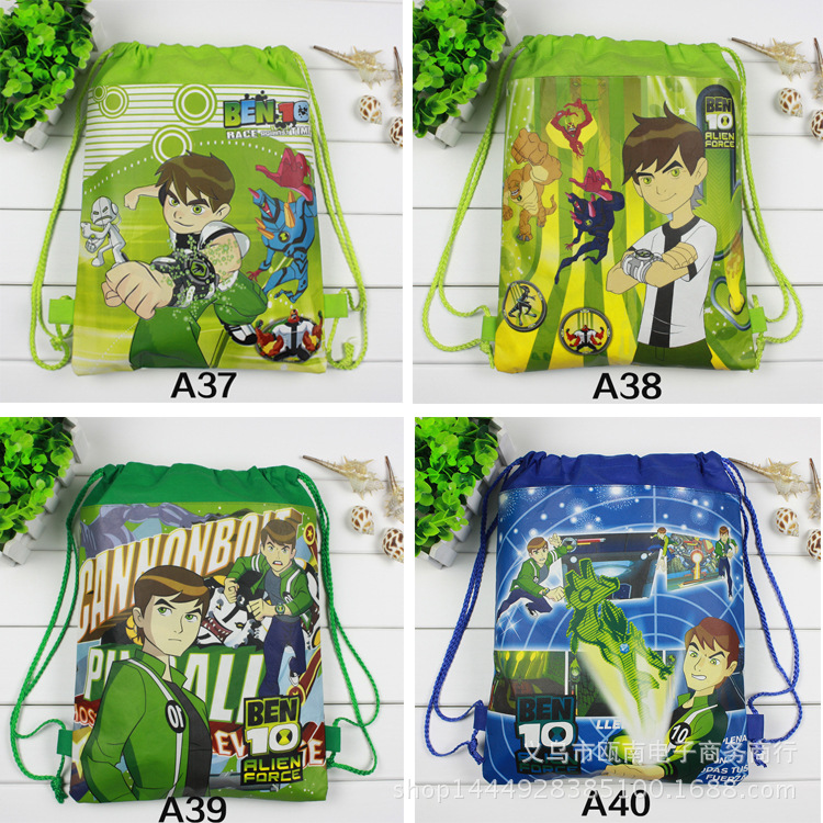 12Pcs New Ben 10 Children School Bags Cartoon Drawstring Backpack Shopping Bag Party Printing Traveling Bags Gift free shipping 20pcs lot monsters university cartoon drawstring backpack bag children kids bag 34x27cm schoobag party gift