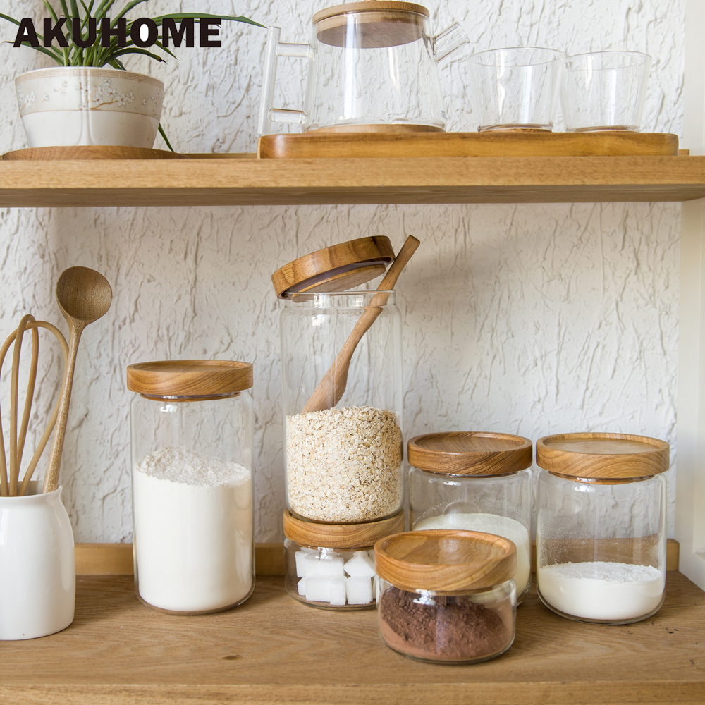 Glass kitchen storage containers - Glass Food Storage Bottle Rubber Cover Sealed Grains Nuts Tank Can Kitchen Sorting Food Storage Box