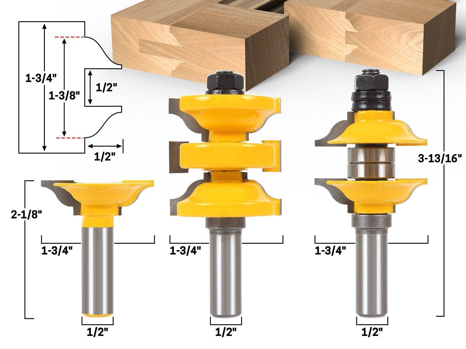 цена на Woodworking milling cutter three-piece set door frame tenon tool a solid wood door tool
