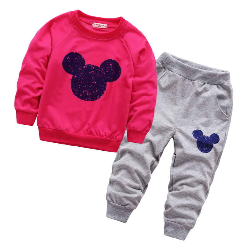 2017 Spring Autumn Infants Baby Mickey Clothing Set Boys Girls Minnie Tracksuits Cartoon Shirt+Pants 2pcs Kids Clothes sets new baby girls minnie clothing sets boys mickey autumn spring casual cotton children s sets kids full tshirt suspenders suits