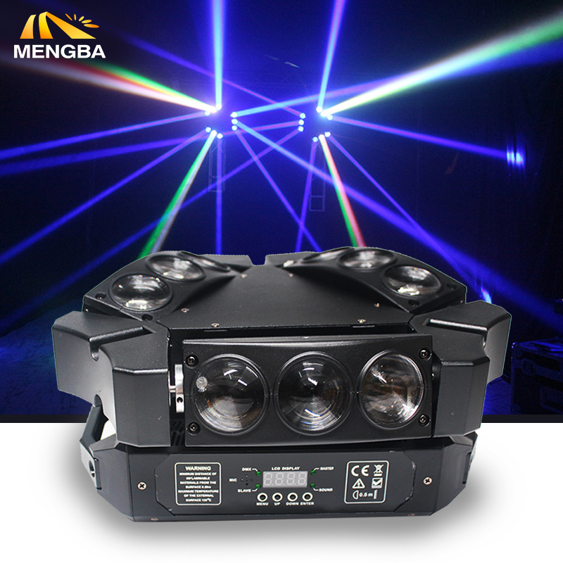 NYHET 9x12w RGBW 4in1 Spider LED Beam Moving Head Light Fargerik LED Beam Moving Head light bra for fest rask frakt