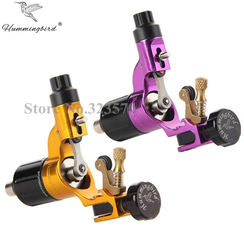 Pro 2 pcs Purple&Gold Hummingbird V2 Original Swiss Motor Rotary Tattoo Machine Gun kit liner shader for cord