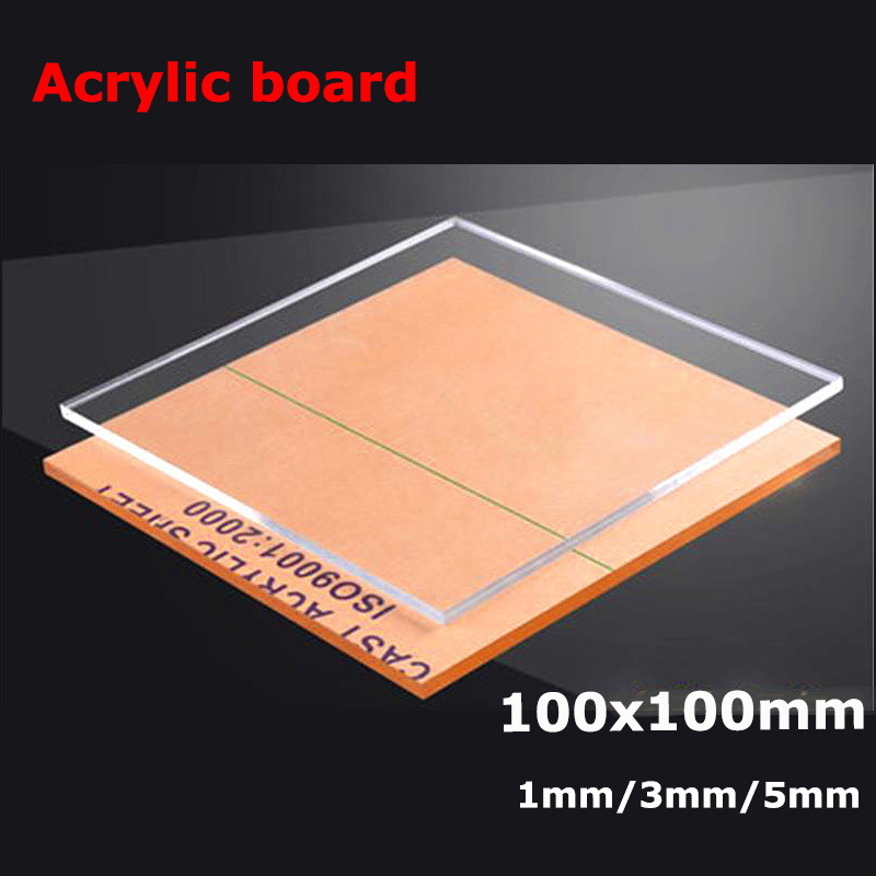 Fly-Fiber Plexiglass Transparent Clear Plastic Sheet Acrylic Board Organic Glass Polymethyl Methacrylate 100x100mm,Thickness 5mm.4PCS