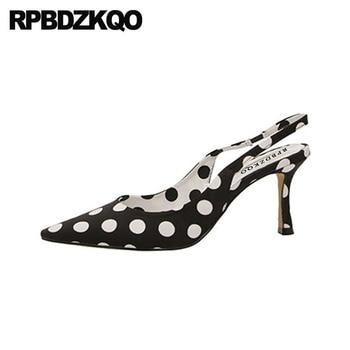 Sandals Fashion 2018 Slingback High Heels Designer 3 Inch Satin Scarpin Pumps Pointed Toe Cheap Women Summer Shoes Size 4 34