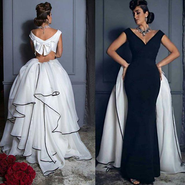 Elegant Black White Evening Dresses 2017 Cap Sleeve Slim Long Women