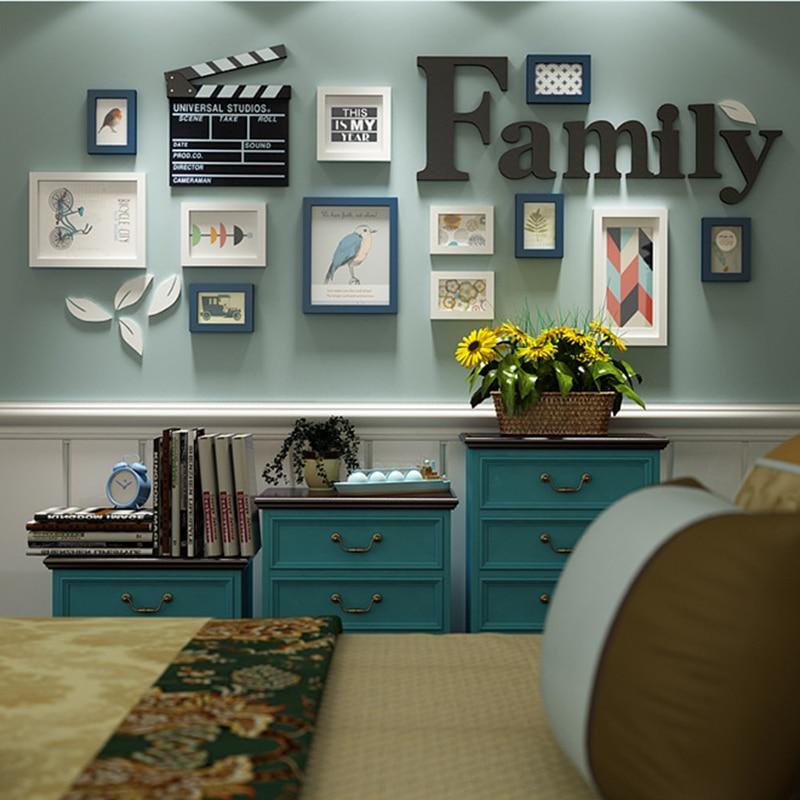 12 pièces ensembles de cadres Photo en bois tenture murale Artware Photos cadre pour Photo décoration de la maison en bois artisanat cadre Photo