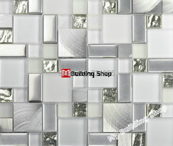 Glass Mosaic Kitchen Backsplash Tile SSMT104 Silver Stainless Steel Metal  Mosaics Crystal White Glass Mosaic Bathroom