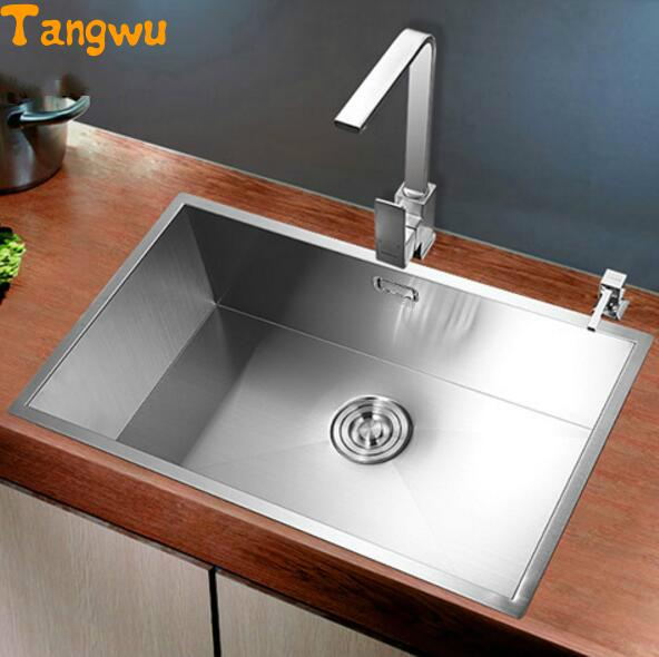 Permalink to New Berlin hand wash dish basin sink package single groove kitchen 304 thick stainless steel sink undercounter