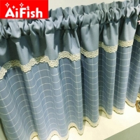 Korean Style Rustic Fresh Plaid Kitchen Cabinet Washbasin Partition Curtain Coffee Curtain Semi Shade Short Curtain