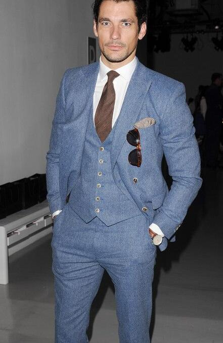 Pantalon Clair Motif Manteau Costume Robe D'affaires Slim Pour Bleu Fit Hommes 3 Formelle Blazer C Dernières Désherbage Smoking Pièces Conception Personnalisé v80mONnw