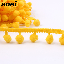 25mm 5Yards Yellow Pompom Lace Trims for Clothes DIY Wedding