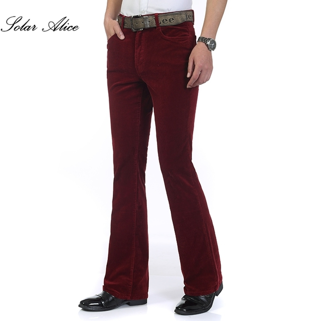 Free Shipping 2019 New Spring Autumn Men's Smart Casual Corduroy pants Flares male Mid Waist bell-bottom Plus Size Trousers 1