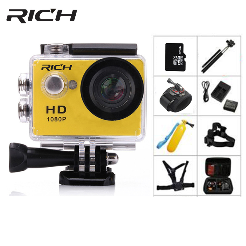 RICH Action Camera HD 1080P Digital Sports DVing Photo Cam underwater Waterproof cameras 30M Camcord 2.0 Inch Mini Video Cam
