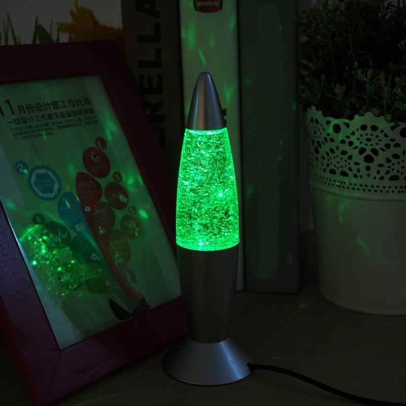 USB RGB Color Changing Glitter Rocket Creative Night Light Lava Lamp for Indoor Christmas lamparas