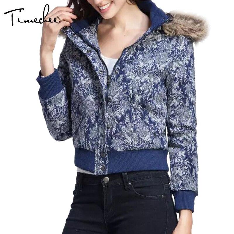 ФОТО Women Jacket 2017 Timechee Faux Fur Floral Hooded Zipper Slim High Quality Warm Short Outwear LYY0044