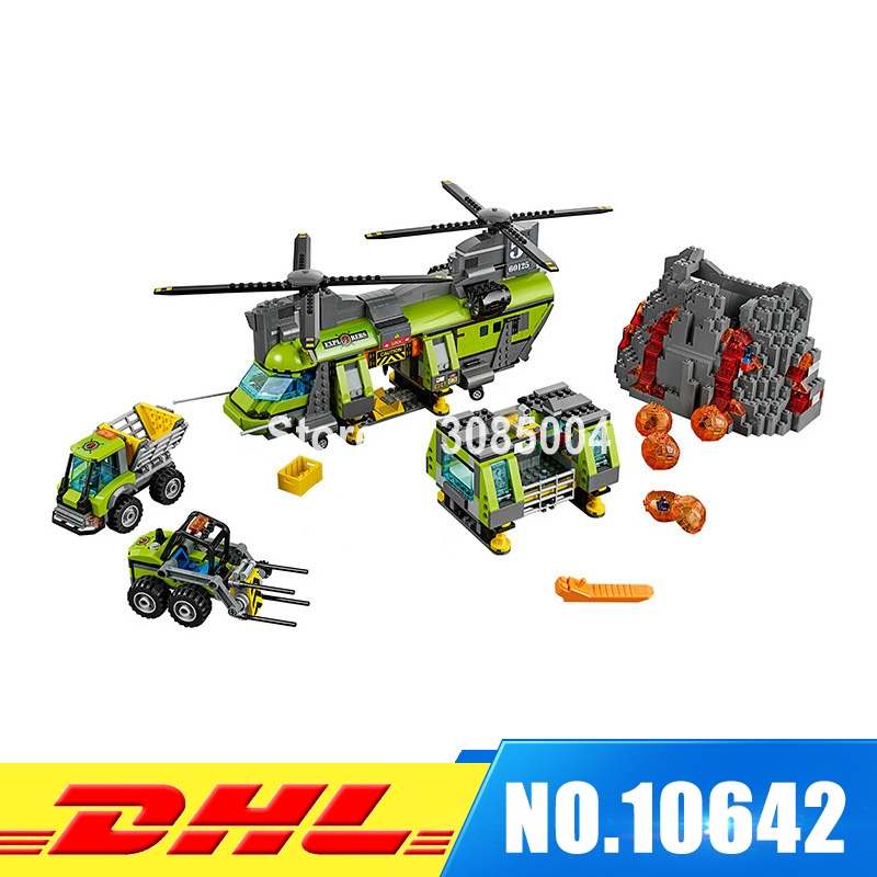 Bela 10642 City Series Volcano Supply Helicopter Geological Prospect Building Blocks Bricks Children Gift Compatible LEPIN 60125 356pcs city volcano supply helicopter 02004 police model building blocks assemble bricks children toys sets compatible with lego