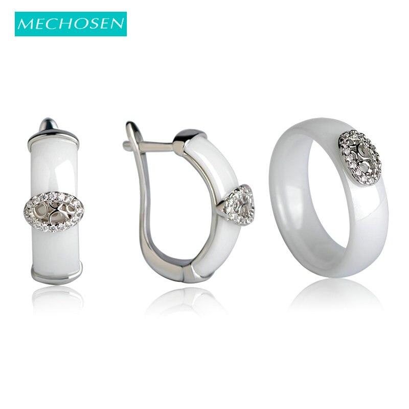 купить MECHOSEN Jewelry Sets Earrings&rings White/ Black CZ Zircon Ceramic Copper Orecchini Anel Parure Bijoux Femme Keramik Schmuck по цене 1113.8 рублей