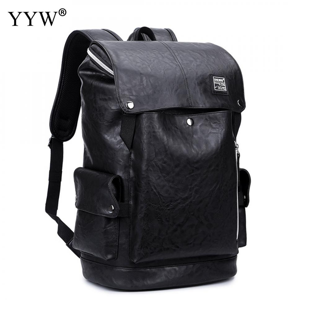 Fashion Black Laptop Backpack Pu Leather Men Anti Theft Backpack Fashion Backpack Designers Brand Waterproof Big Travel Backbags compact fashion waterproof men backpack