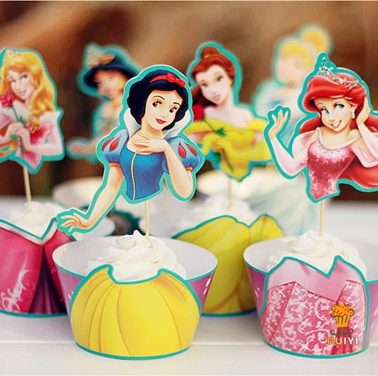 24pcs Snow White Mermaid Cinderella Princess Cupcake Wrapper Toppers Kids Birthday Party Supplies Cupcake Cases Liner AW-0047