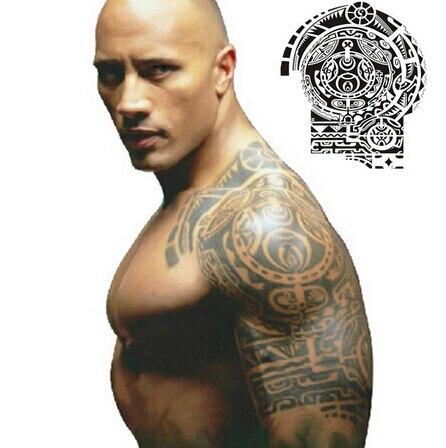 1 Unids Estrella Dwayne Johnson Solo Hombro Tatuaje Temporal Gran