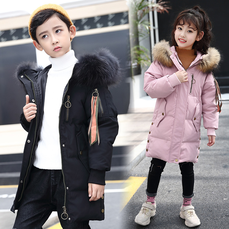 2018 New Children Down Jacket Long Thick Long Coat Parkas Baby Kids Teen Girl Boy Outwear Hooded Tops Winter Clothing Dresses girl long down jackets dorsill 2017 new winter warm children outwear hooded fashion boy winter coat thick kids down