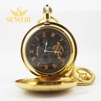 2017 SEWOR Top Brand Fashion Noble Golden Steam Locomotive Pattern Double Open Star Pocket Watch C207