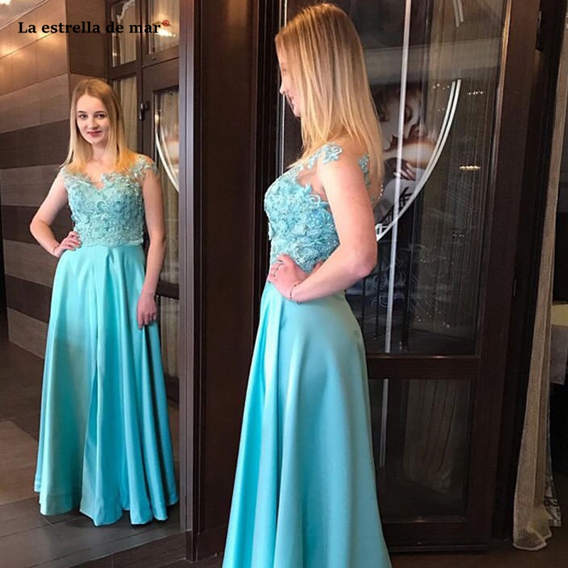 Vestido de gala2019 new lace chiffon beaded short sleeves see A Line turquoise prom dresses long galajurken quality gala dress