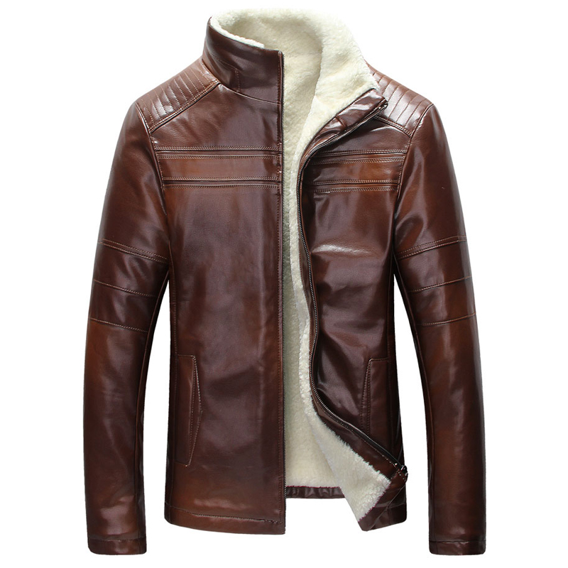 Vintage Mens Fur Lined Leather Jacket In Stock Real Picture Winter Warm Mens Fur Leather Jackets Overcoats Free Shipping C1229 free shipping 2017 winter warm dhl brand clothing vintage jackets mens genuine pakistan cow leather biker jacket plus size