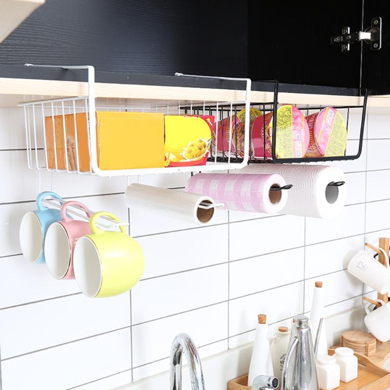 Iron Cupboard Hanging Basket Closet Shelf  Hook Cabinet Storage Rack Holder Bathroom Kitchen Cupboard Organizer Accessories