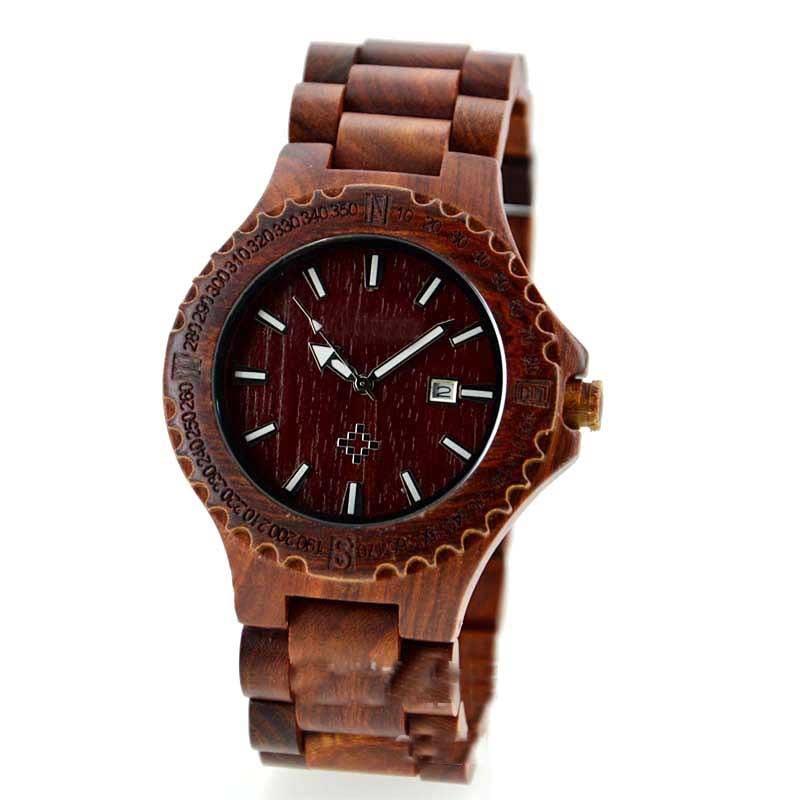 Reloj de pulsera de cuarzo de madera genuino correa de banda de - Relojes para hombres - foto 4