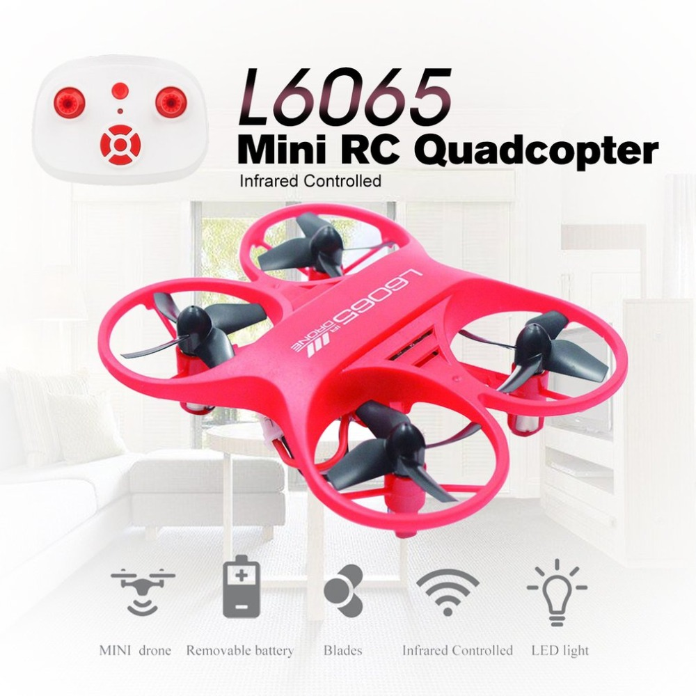 2.4GHz Drone Mini RC Quadcopter Toys Infrared Controlled Remote Control L6065 Micro Pocket With LED Light Kids