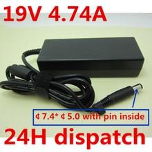 HSW качество 19 в 4.74A 90 Вт Зарядное устройство для ноутбука адаптер переменного тока блок питания для hp Pavilion DV3 DV4 DV5 DV6