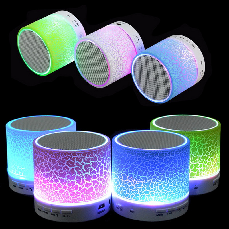 Portable Mini LED Bluetooth Speakers Wireless Small Music Audio TF USB FM Light Stereo Sound Speaker For Phone Xiaomi with Mic kubei 288b mini portable bluetooth v3 0 stereo mp3 speaker w tf mini usb black