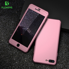 360 ​​Degree Protection Hybrid Case for iPhone 7 6 6 S 5S SE Case for iPhone 6 S 7 Plus with Front Tempered Glass Hardcover
