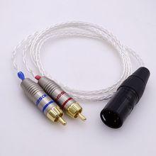 8 ליבות 5N PCOCC כסף מצופה 4 פינים xlr זכר מאוזן כדי הכפול 2 RCA זכר אודיו מתאם אוזניות הארכת כבל