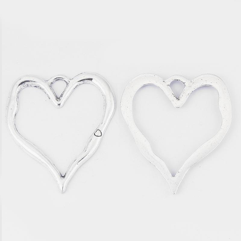 5pcs velike antične srebrne čare odprtega srca obeski nakit ogrlica - Modni nakit - Fotografija 2