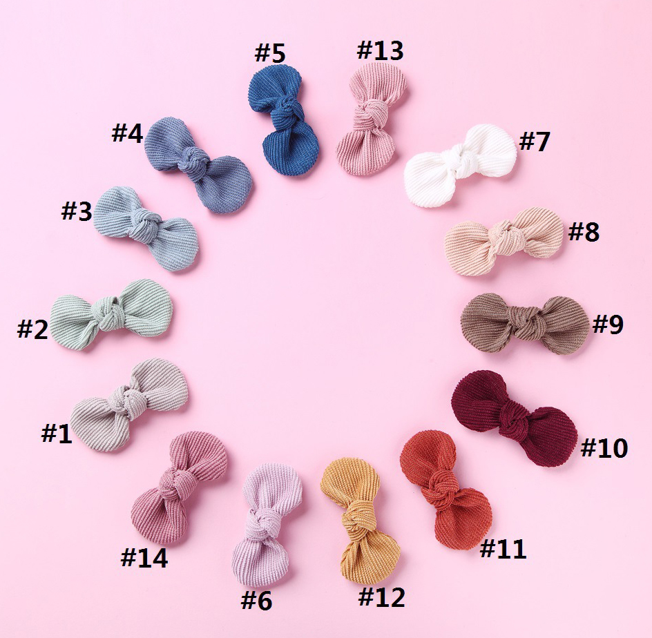 36pc lot 2 8 Solid Corduroy Bow Hair Clips For Girls Lovely Bowknot Hairpins Elastic Headwear